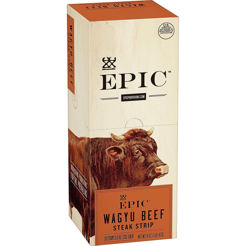EPIC Wagyu Beef Steak Strips Grass-Fed, Paleo Friendly, 20 ct, 0.8 oz Strips