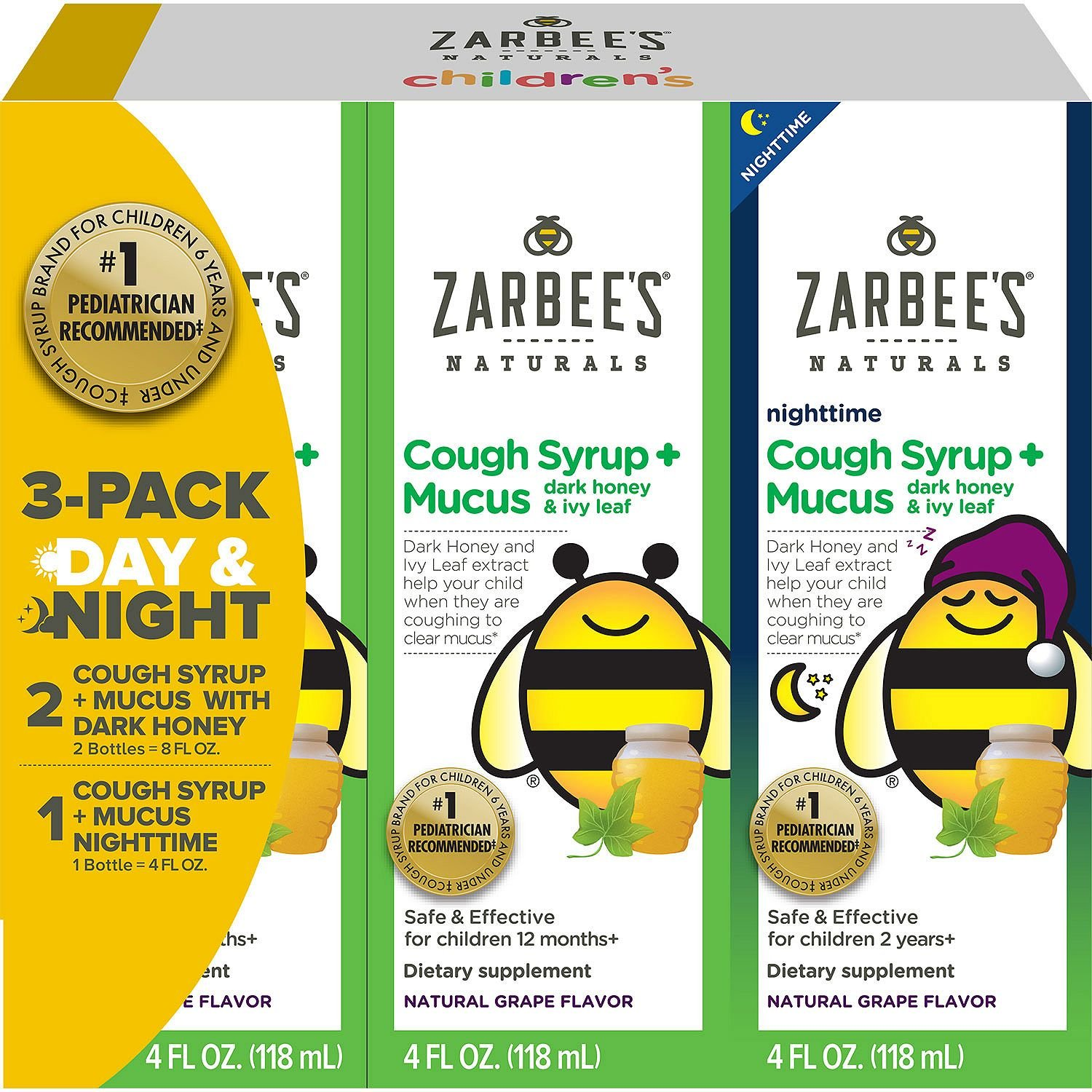 Zarbee's Natural Children's Cough Syrup + Mucus Day & Night (12 oz.) (pack of 6)
