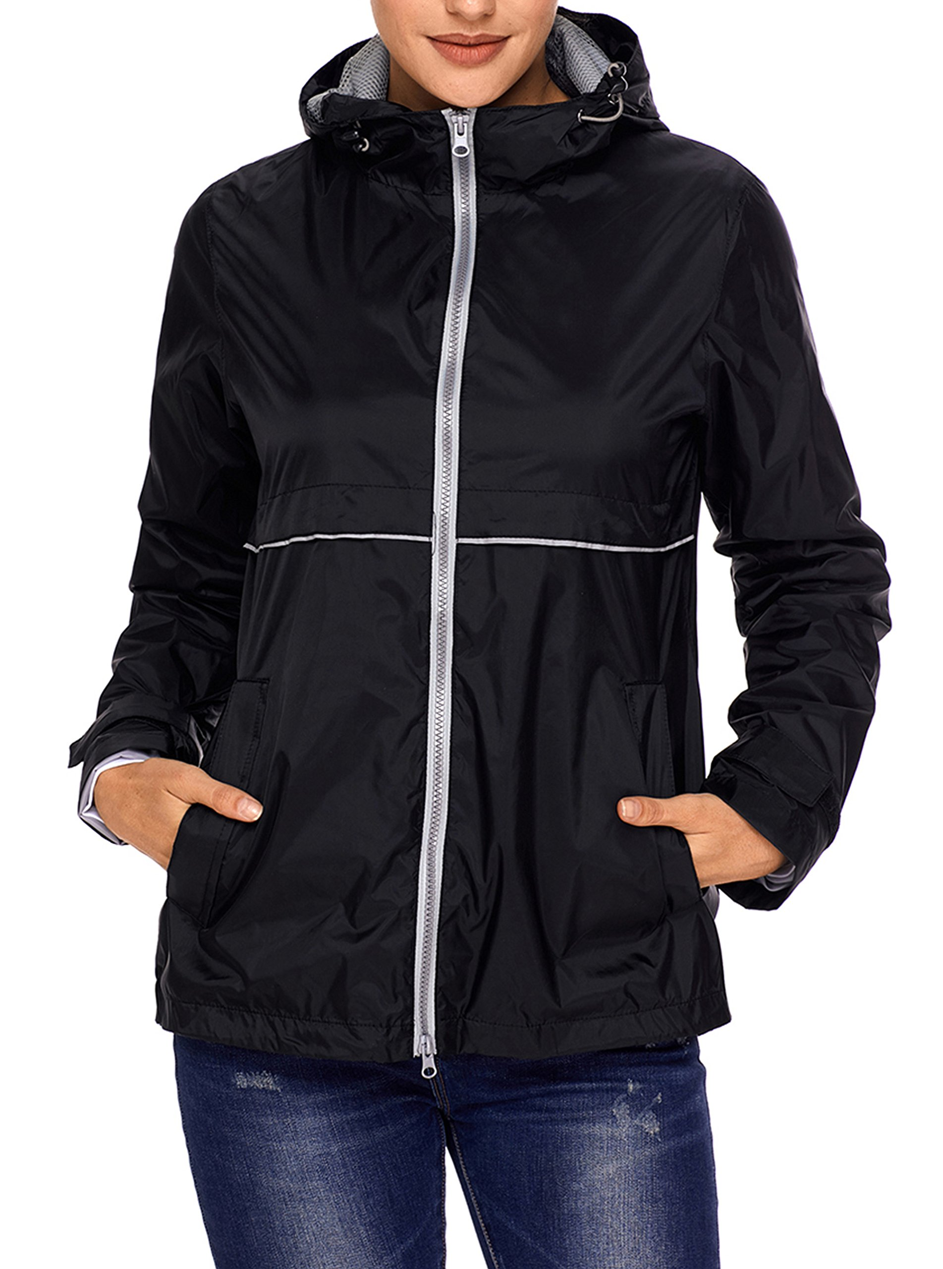 SWISSWELL Rain Jacket Women Waterproof Lightweight Hooded Raincoat Lined Rainwear Black 2X-Large