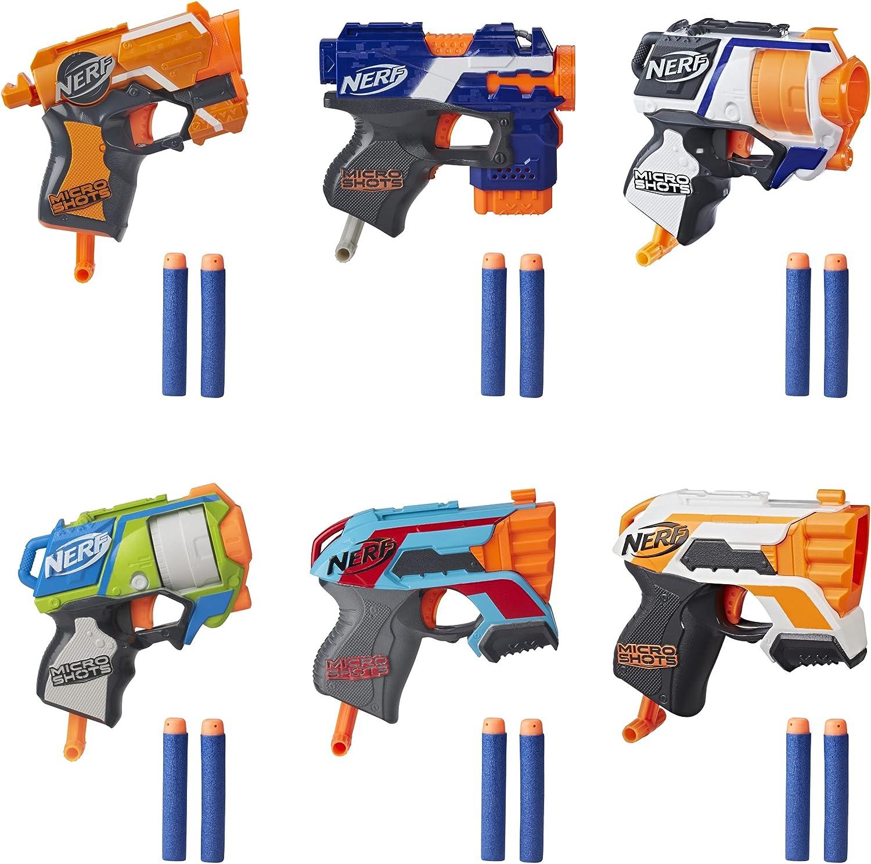 NERF MicroShots 6-Blaster Bundle -- 6 Mini Dart-Firing Elite Blasters and 12 Official Elite Darts -- for Kids, Teens, Adults (Amazon Exclusive)