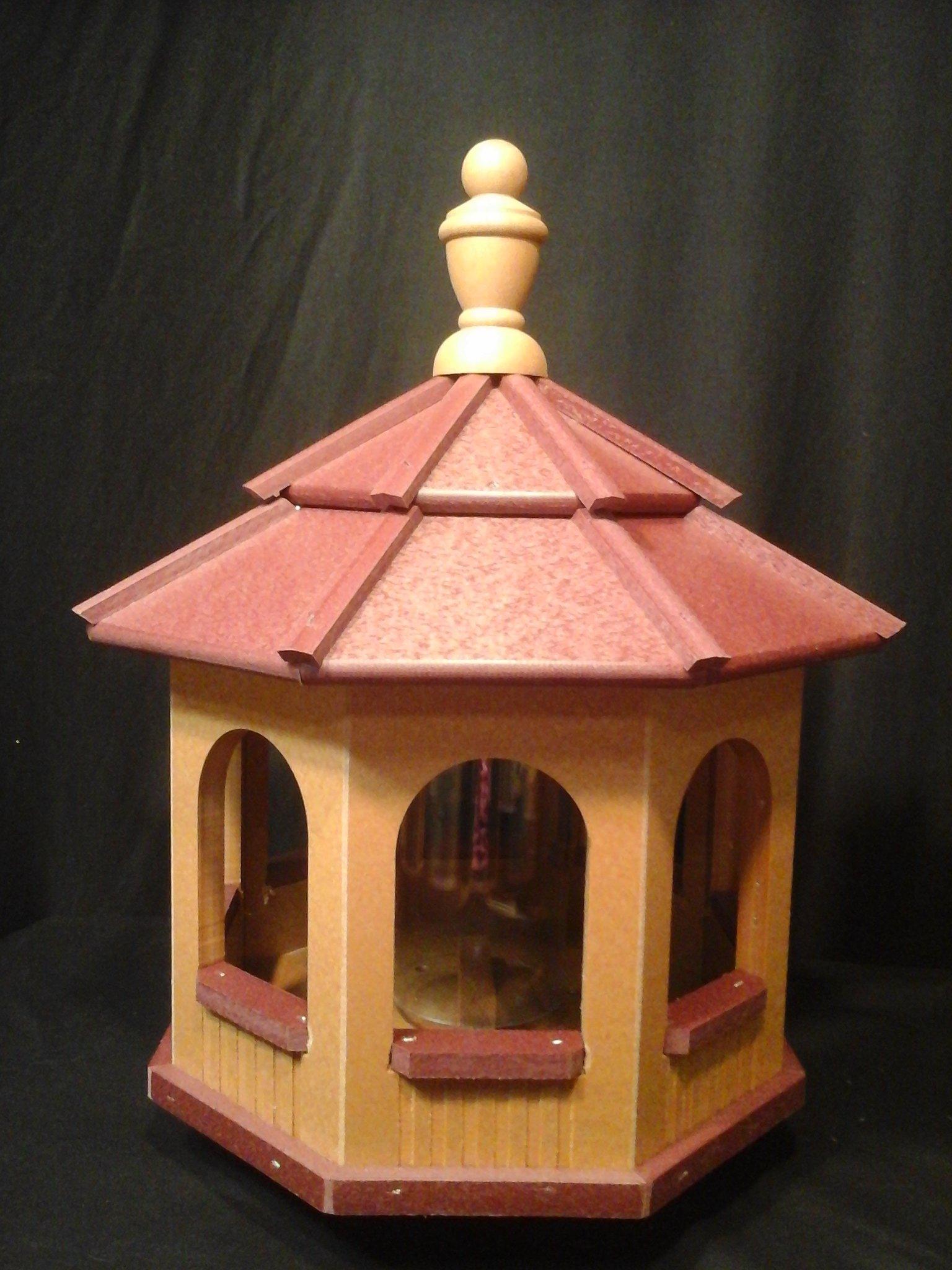 Vinyl Gazebo Bird Feeder Amish Homemade Handmade Handcrafted Cedar & Red med