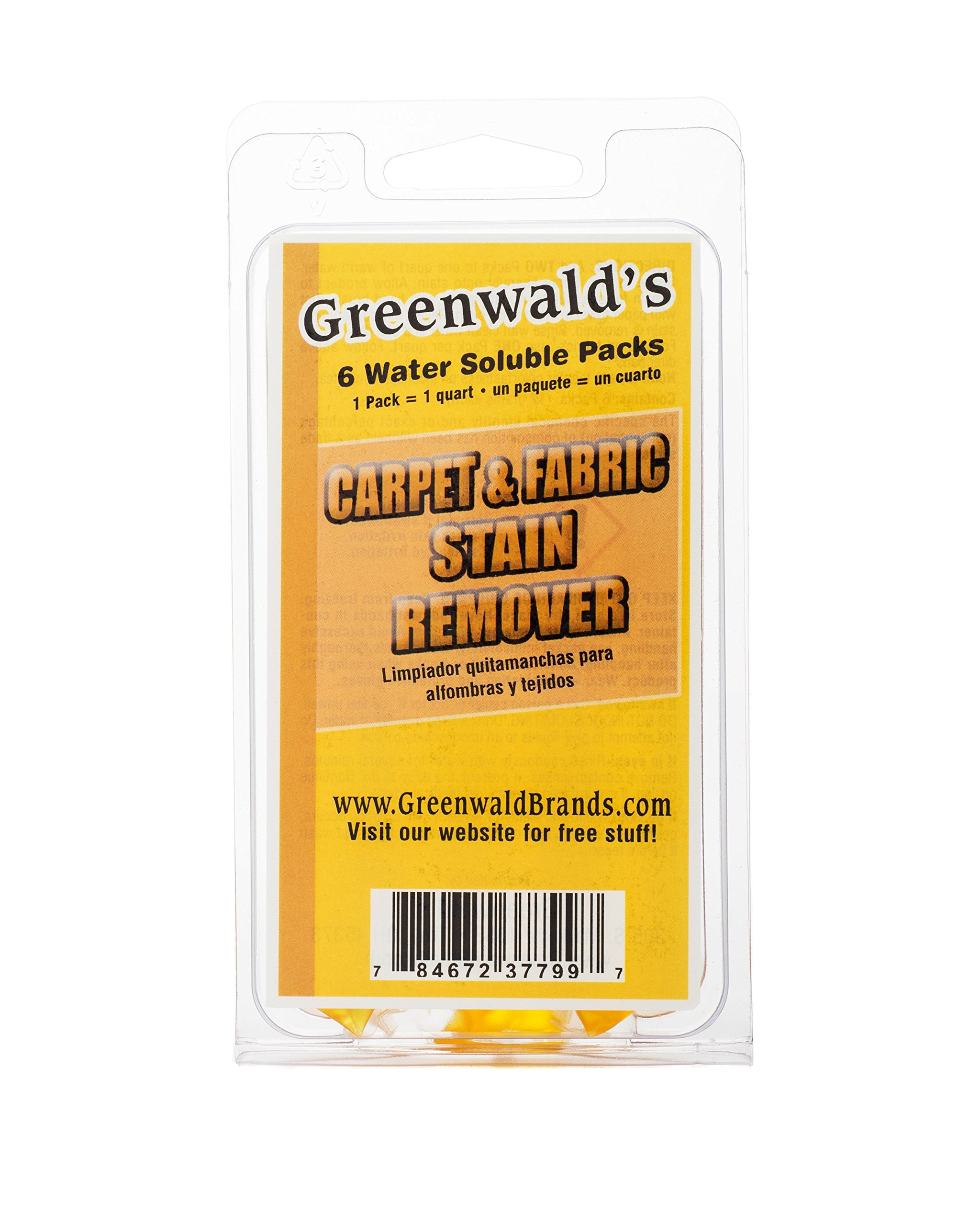 Greenwald's Carpet, Upholstery & Fabric Stain Remover - Easy Refills Make 6 32-oz Spray Bottles - 100% Satisfaction Guarantee