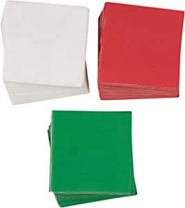 Christmas Party Decorations, Paper Napkins (Red, Green, White, 5 x 5 In, 210 Pack)