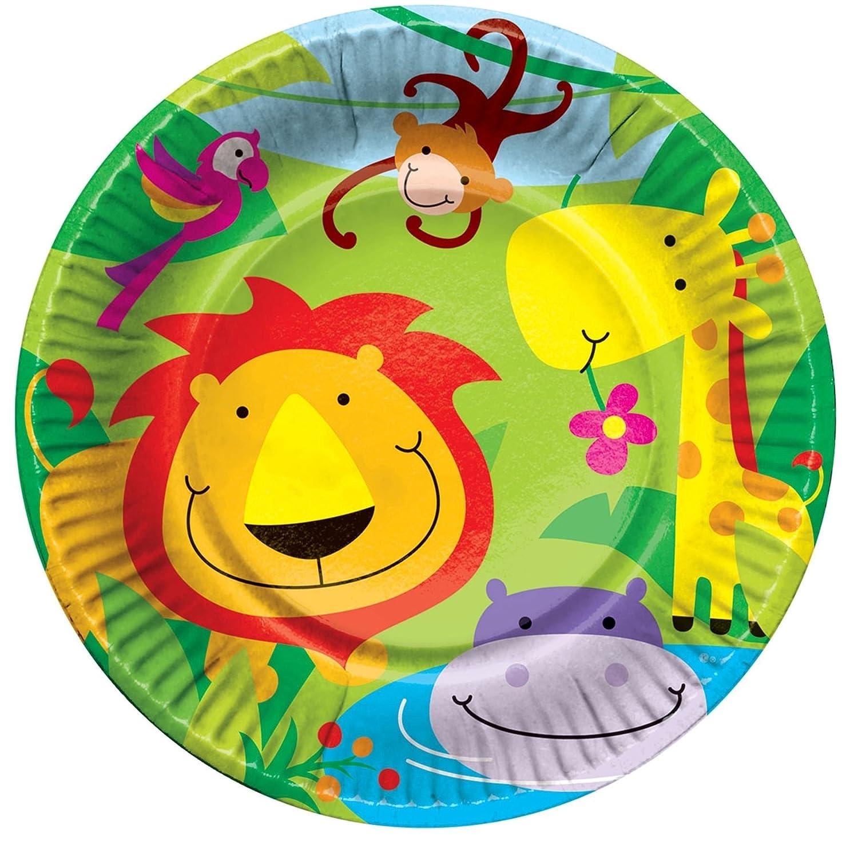 Jungle Theme 8 Plates Girls Kids Childrens Birthday Zoo Animal Concept4u