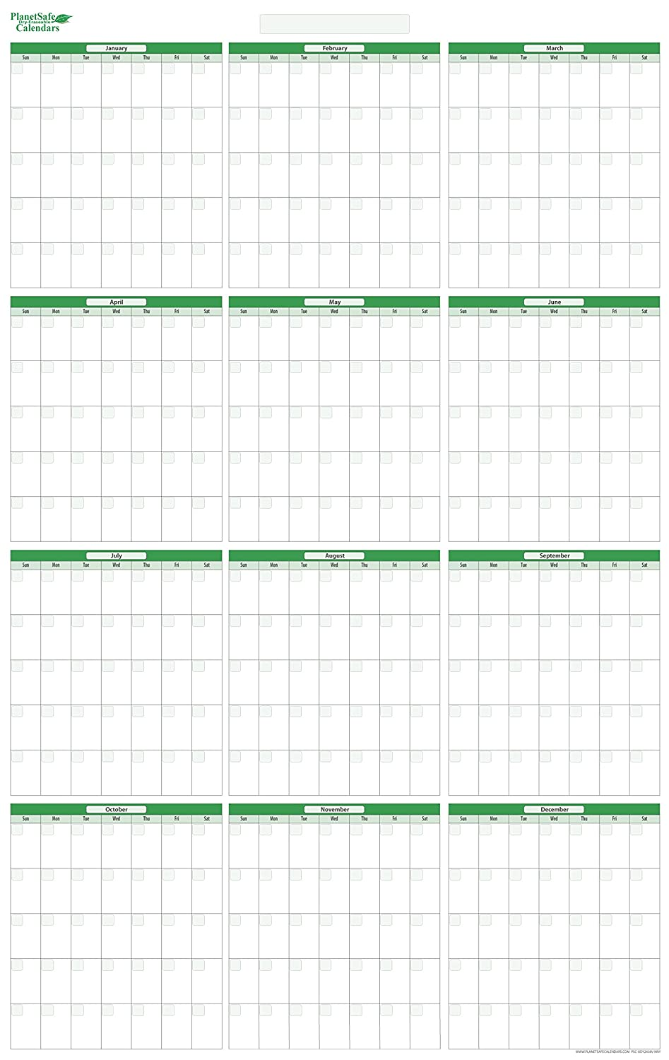 12 month undated vertical dry erasable wall planner january