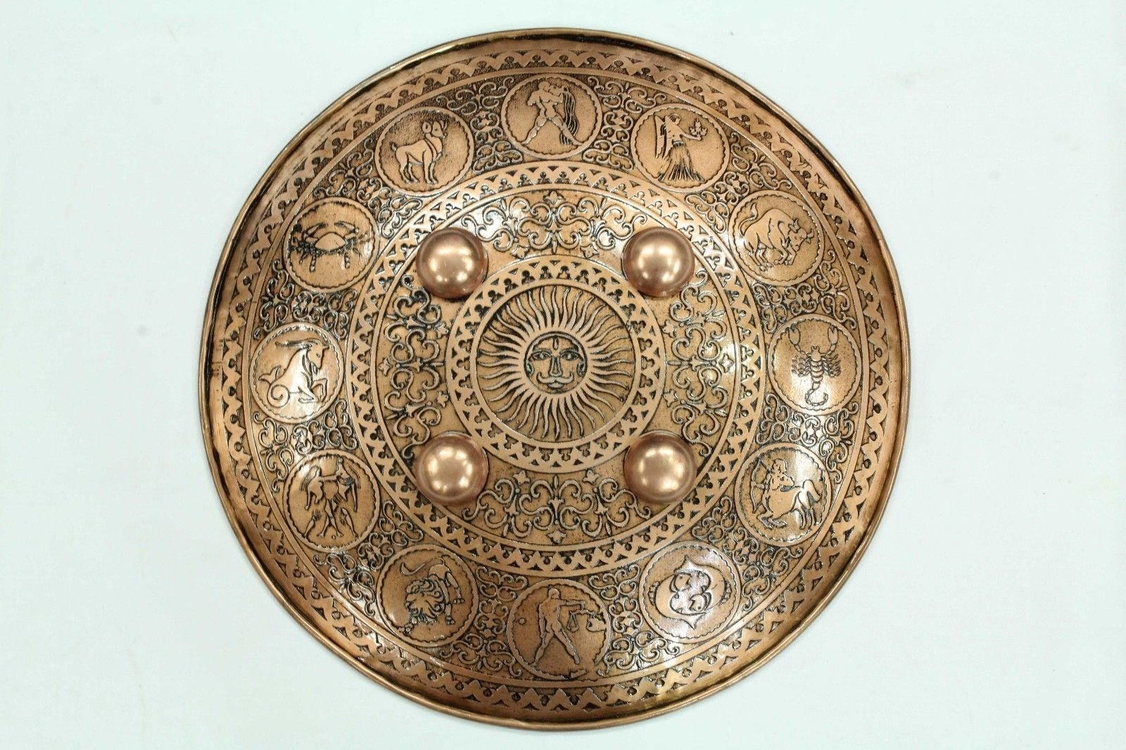 Rajashan Gems Engraved sun signs symbols on Steel Battle Armory Shield Dhal copper color 15'