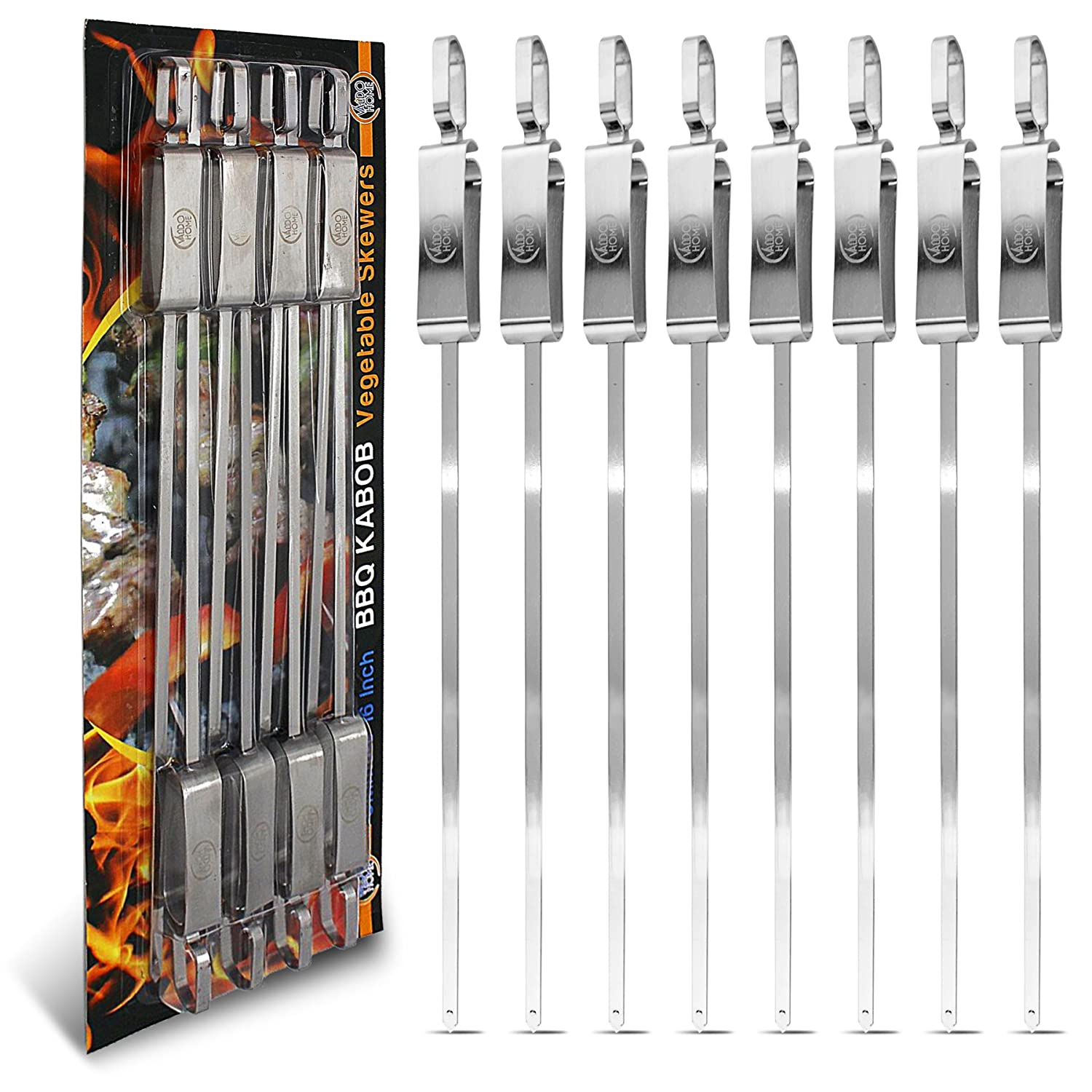 BBQ Stainless Steel Kabob Skewers for Barbecue Stick Grilling 16 Inch Long With Metal Sliding Handle 8