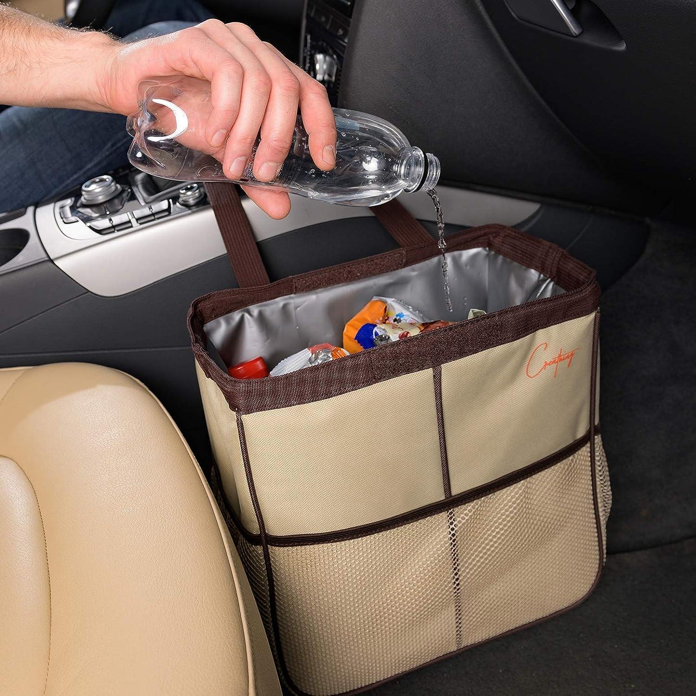 Creathing Car Trash Bag Hanging, 3 Gal | Waterproof Auto Garbage Can (Large, Beige)