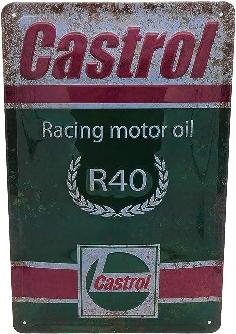 Castrol Racing Motor Öl Blechschild Hochwertig Geprägtes Retro Tankstellen Schild Werkstatt 30 X 20 Cm Küche Haushalt