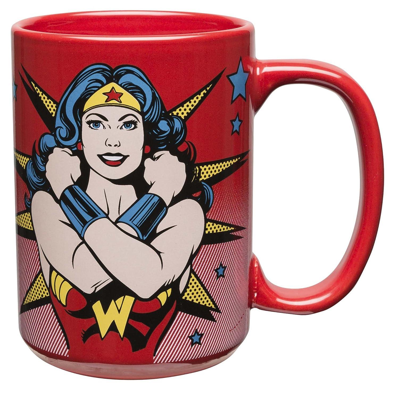 Zak Designs DC Comics 15 oz. Ceramic Coffee Mug, Wonder Woman