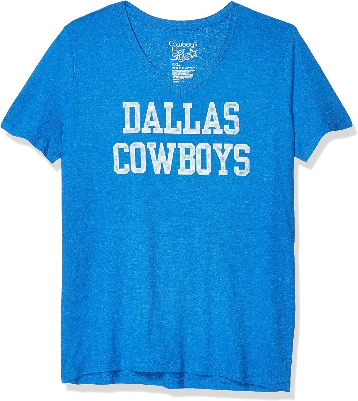 Dallas Cowboys Distressed Coaches tee Camiseta de Entrenadores envejecidos, Mujer