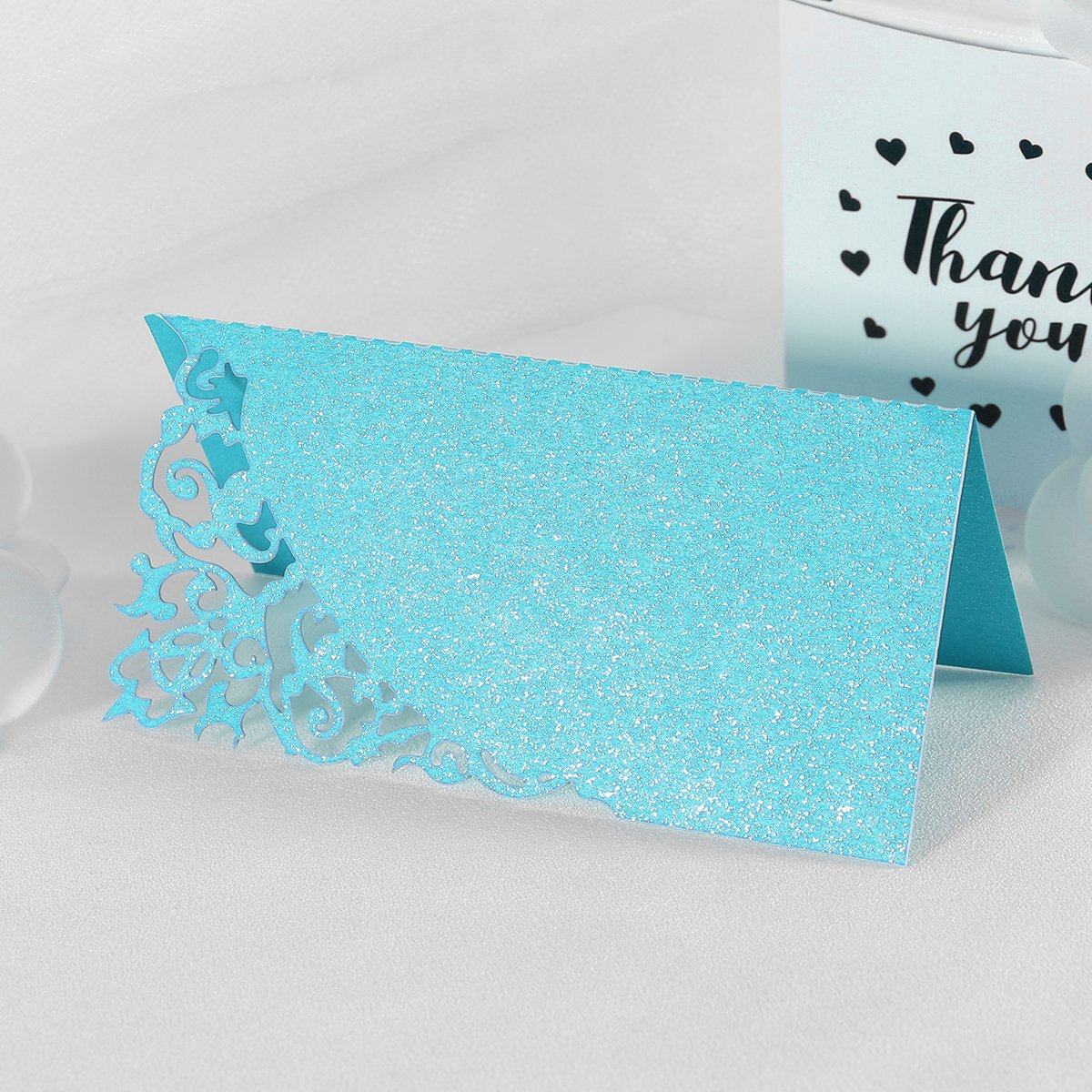 Toyvian Table Name Place Card Tent Hollow for Wedding Party Decoration 50Pcs Blue