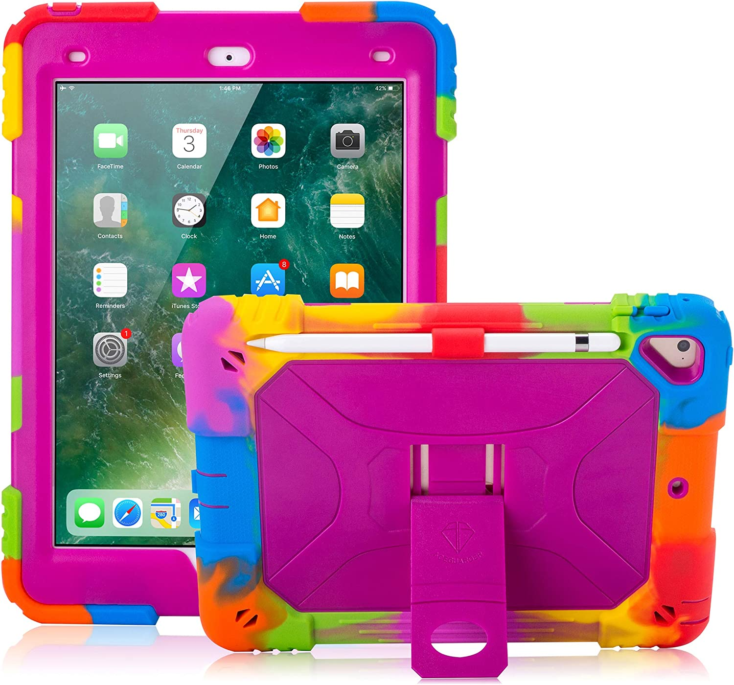 ACEGUARDER iPad 9.7 Case 2017/2018, iPad 6th/5th Generation Case iPad Air 2 Case for Kids Double-Layer Heavy Duty Cover with Apple Pencil Holder & Kickstand for iPad Pro 9.7 (Rainbow/Purple)