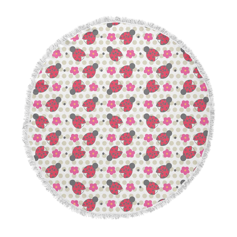 KESS InHouse Louise Machado Ladybug Red Beige Kids Pattern Illustration Vector Round Beach Towel Blanket