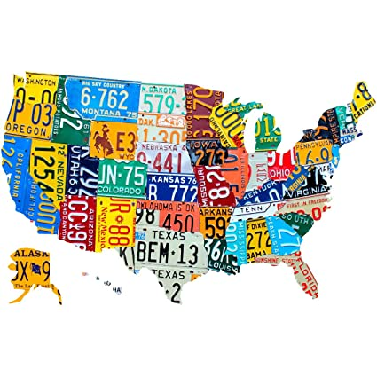 Amazon.com: USA State License Plate Map Wall Decal Cutout 24 x 15 US ...