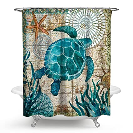 Amazon Sunblinger Sea Turtle Shower Curtain Waterproof And