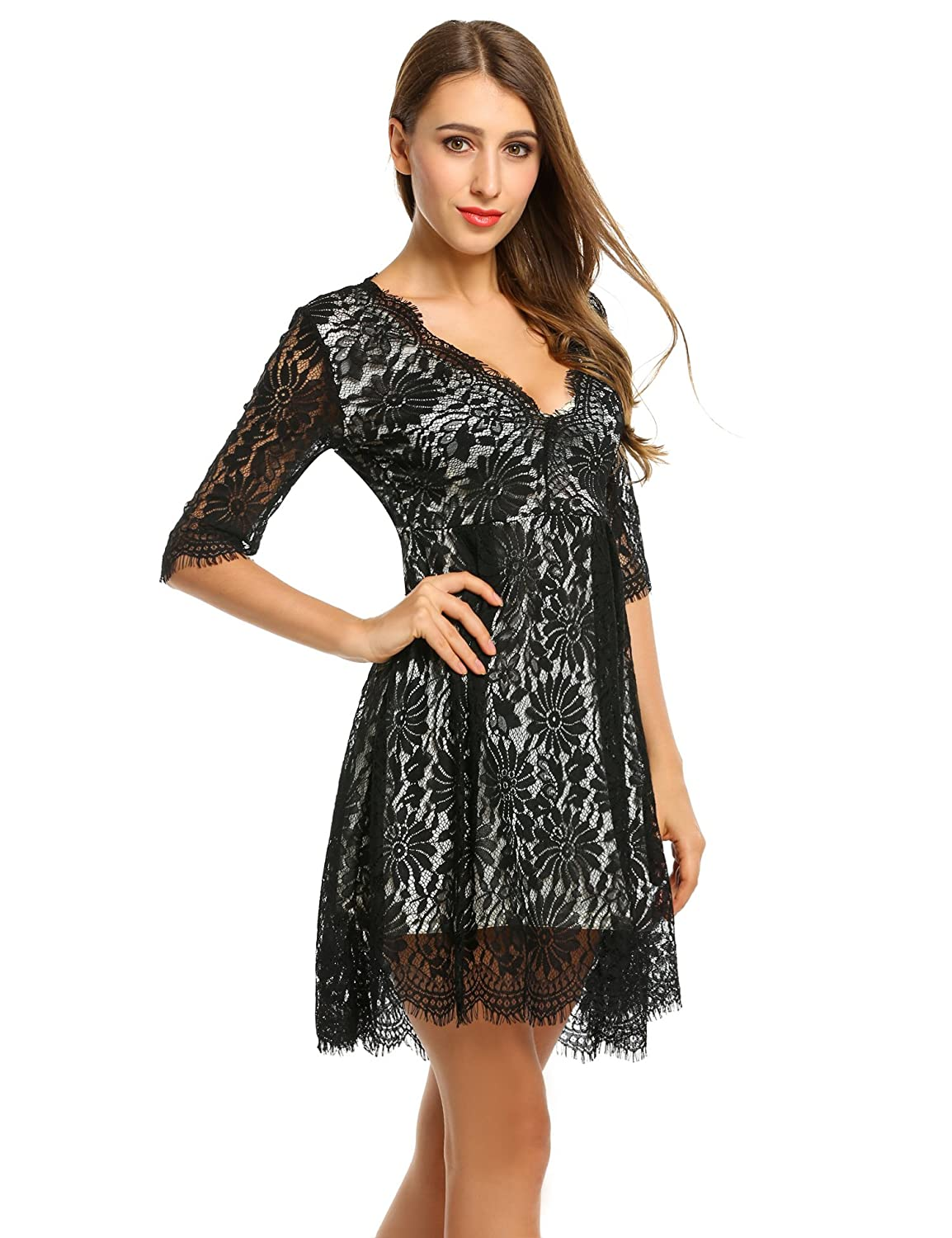 ANGVNS Women Casual V Neck Medium Sleeve A Line Slim Lace Dress