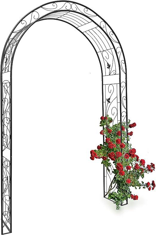 Relaxdays Arco de Metal para Rosas con un Estilo Natural y Figuras de Aves 10020030-Arco, Negro, 36.5x144x226 cm: Amazon.es: Jardín