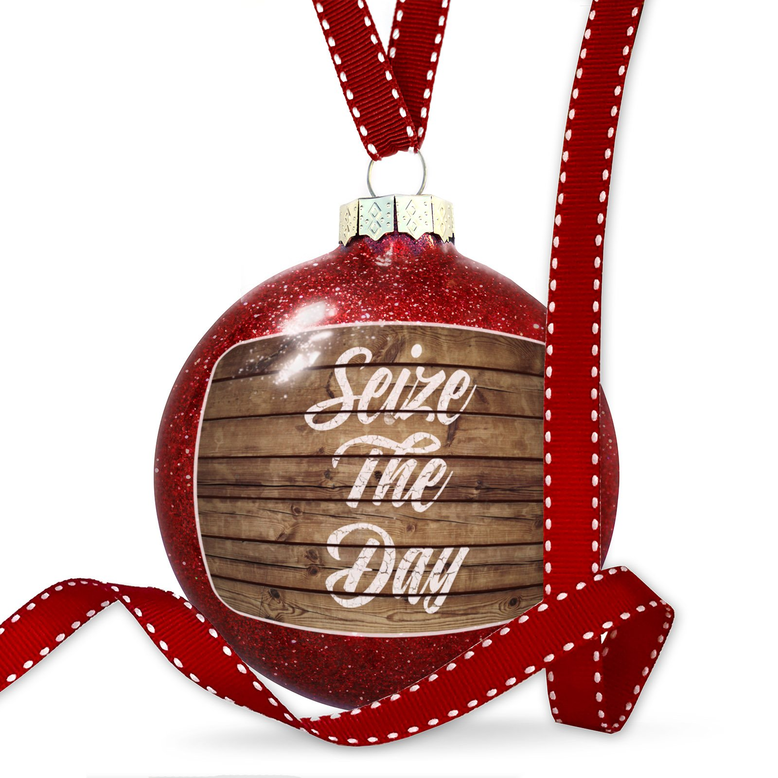Christmas Decoration Painted Wood Seize The Day Ornament