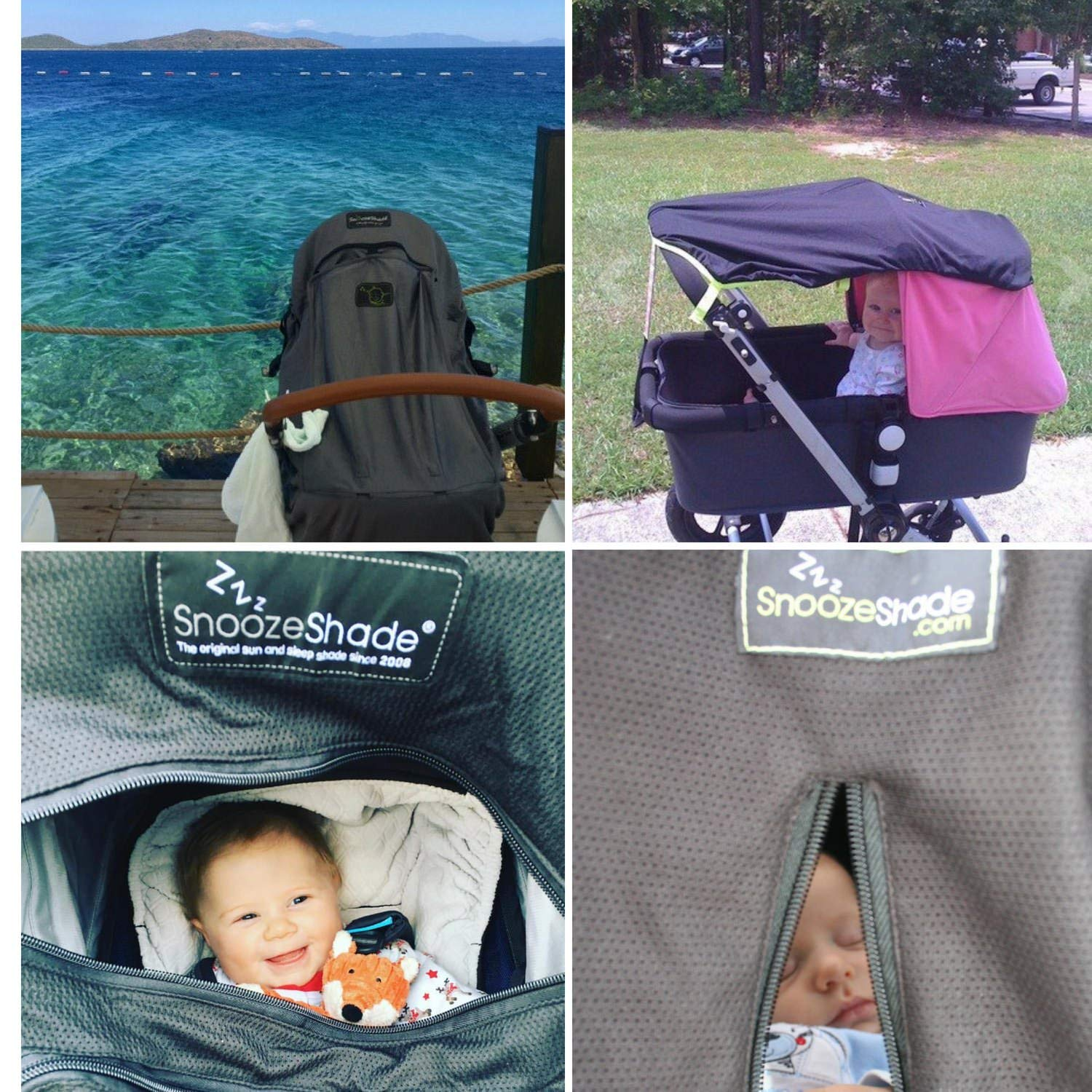 SnoozeShade Plus Deluxe | Universal fit sun shade for strollers | 360-degree sun and UV protection | Sleep shade and mosquito net | Recommended for 6m+ by SnoozeShade (Image #7)