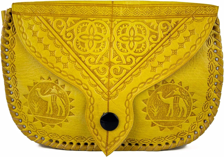 Bolso de mano de piel auténtica marroquí hecho a mano para mujer, con diseño tradicional intrincado, cierre de cremallera, borde cosido, correa para el hombro