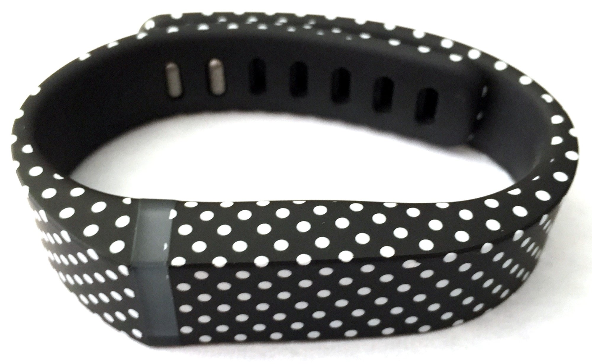 1pc Small S Black with White Dots Spots Replacement Band With Clasp for Fitbit FLEX Only /No tracker/ Wireless Activity Bracelet Sport Wristband Fit Bit Flex Bracelet Sport Arm Band Armband