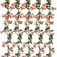 2 Pack 45 Heads 69 inch/pc Artificial Rose Garland,Artificial Silk Fake Flowers Silk Rose Vine Realistic Hanging Plants Wedding Home Party Arch Decor (Pink)