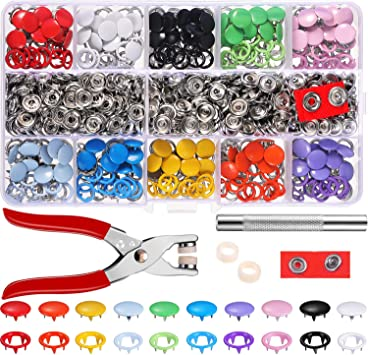 Non-Sew Buttons 10 Colours 200 Sets Metal Snap Fasteners Press Stud Set with Pliers Clothing Bags Tool Prong Buckle Kam Snaps for DIY Crafts Baby Kids Jersey Fabric Hollow Solid Buttons