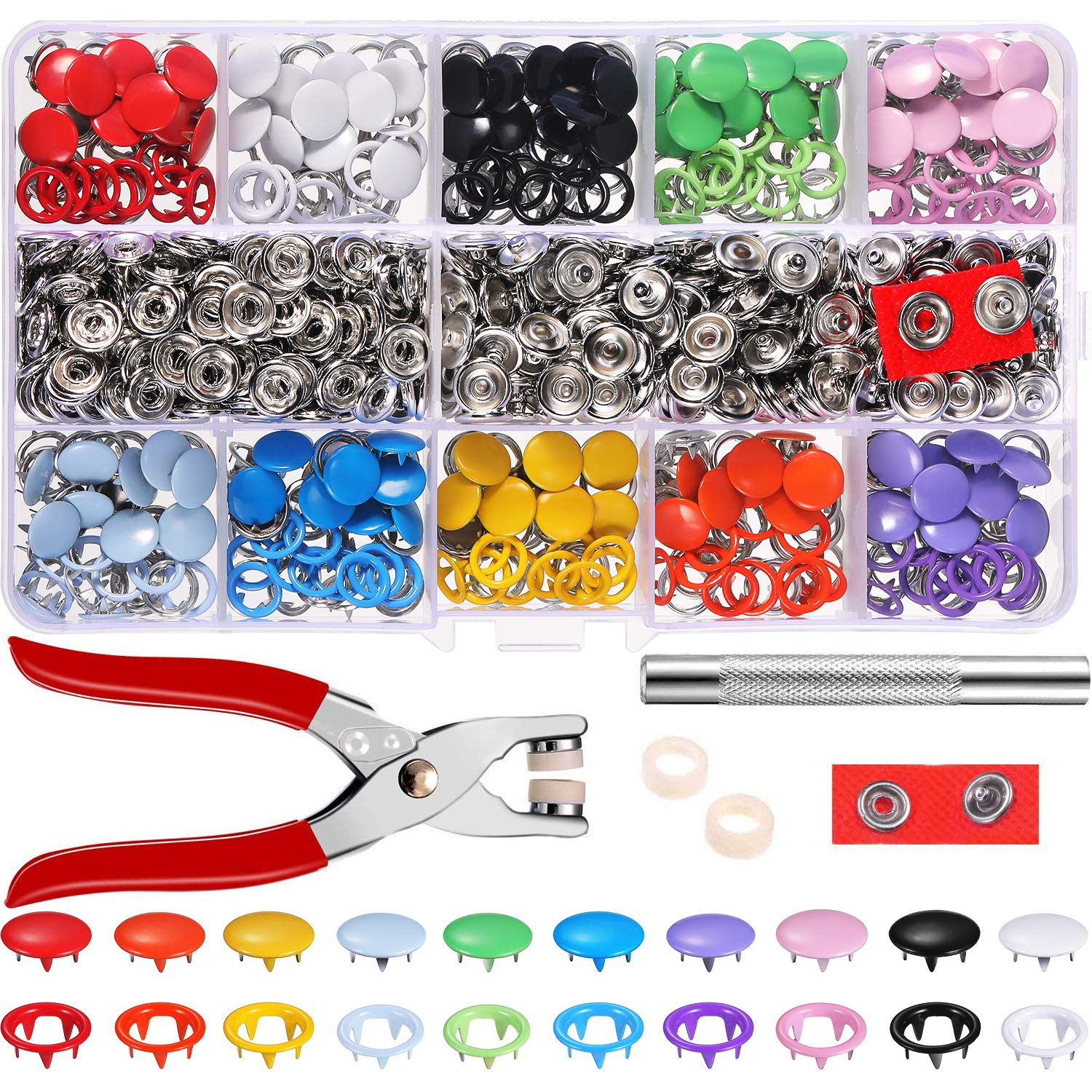 Jovitec 200 Set Hollow Solid Snap Fasteners Romper Snaps Pliers Craft Tool Prong Snaps Buckle Metal Ring Button Press Studs Sewing Craft 9.5 mm, 10 Colors by Jovitec