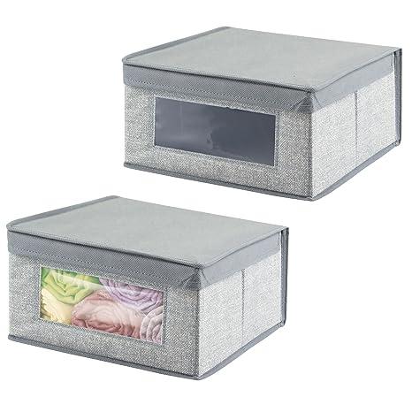 mDesign Juego de 2 cajas de tela apilables con ventana transparente – Caja con tapa mediana