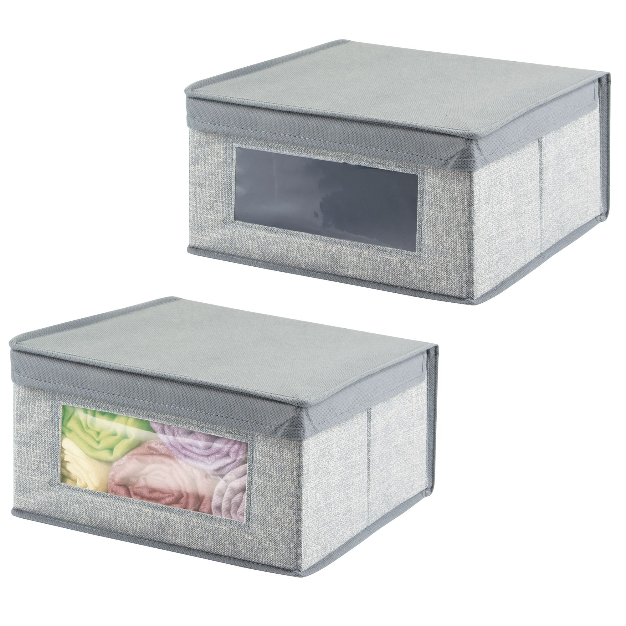 mDesign Soft Stackable Fabric Closet Storage Organizer Holder Bin with Clear Window, Attached Hinged Lid - for Bedroom, Hallway, Entryway, Bathroom - Textured Pattern - Medium, 2 Pack - Gray