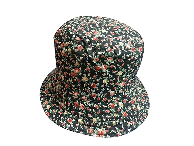 ACVIP Unisex Men Women Cute Fruit Print Funky Fisherman Bucket Hat Outdoor  Cap (Black Flower 457b0c74433