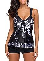 Urban Virgin Womens 2 Piece Bikini Spaghetti Strap Printed Padded Tank Top Tankini Swimsuits For Women