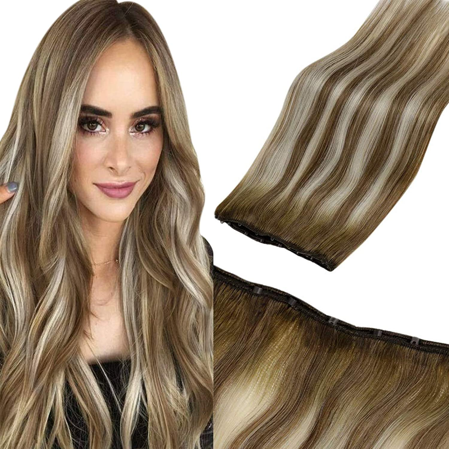 Amazon Com Laavoo Balayage Easy Weft Hair Extensions Micro Beaded Weft Human Hair Extensions Silky Straight Balayage Ash Brown Highlight Platinum Blonde Straight Micro Hair Weft Brown Blonde 50g 20inch Beauty