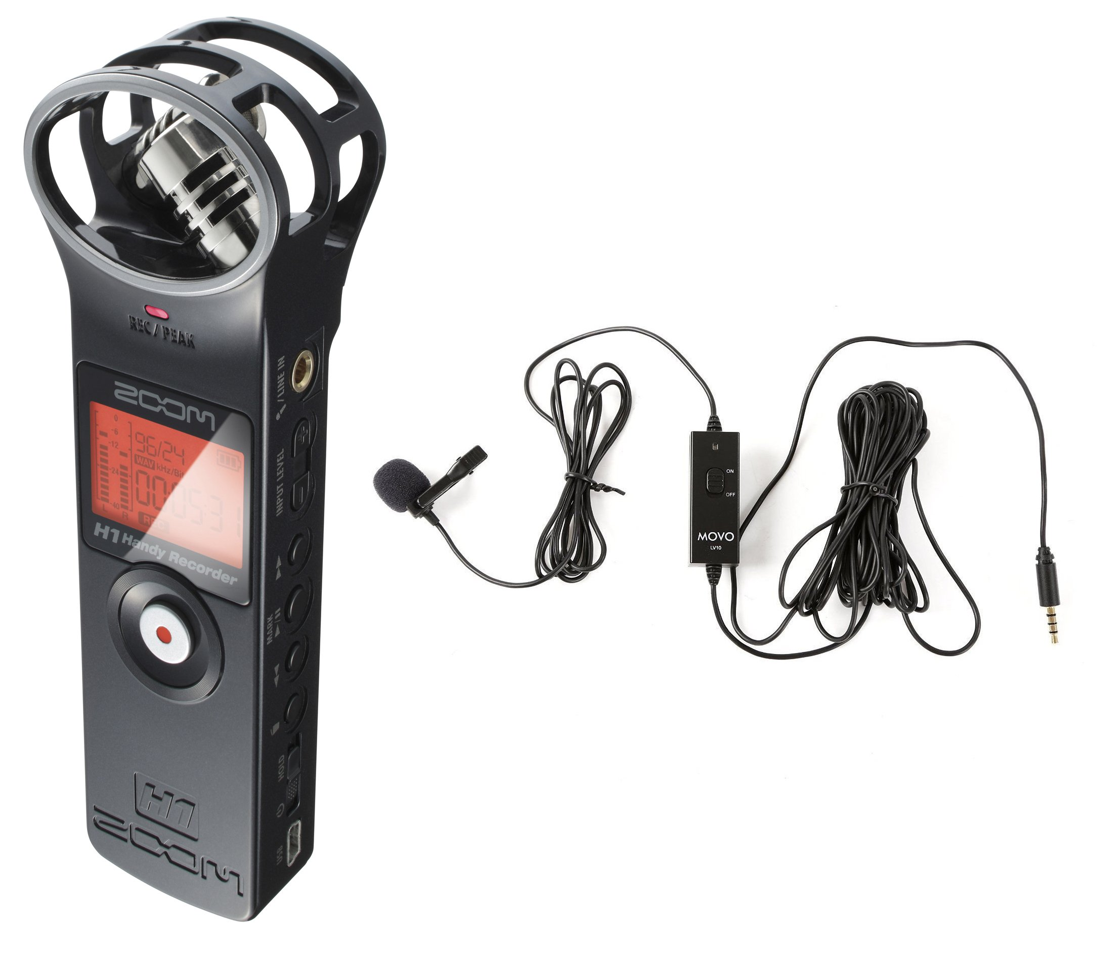 Zoom H1 Handy Portable Digital Recorder Bundle with Movo Lavalier Clip-on Omnidirectional Condenser Microphone