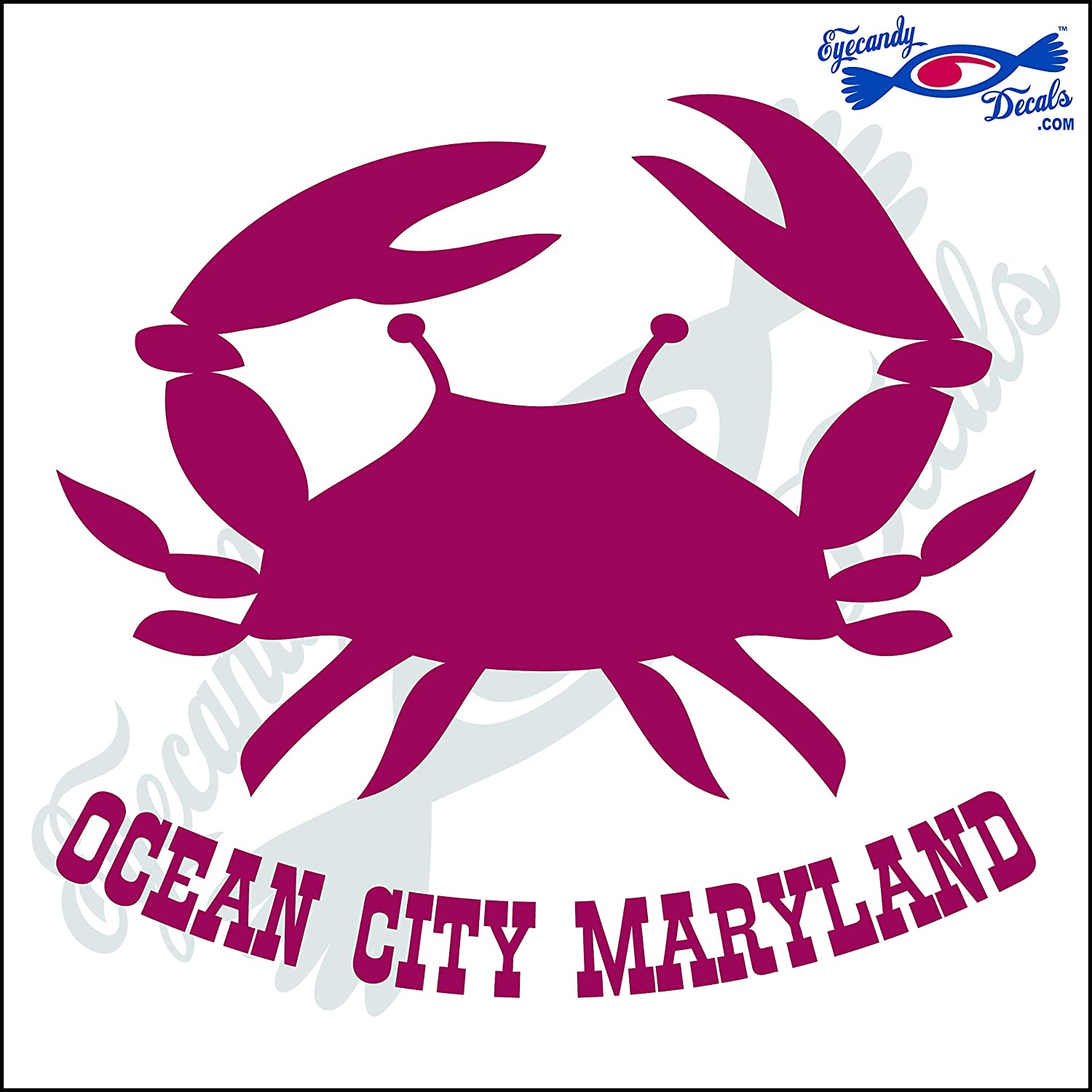 Amazon com eyecandy decals crab with ocean city maryland 6 inch decal gold automotive