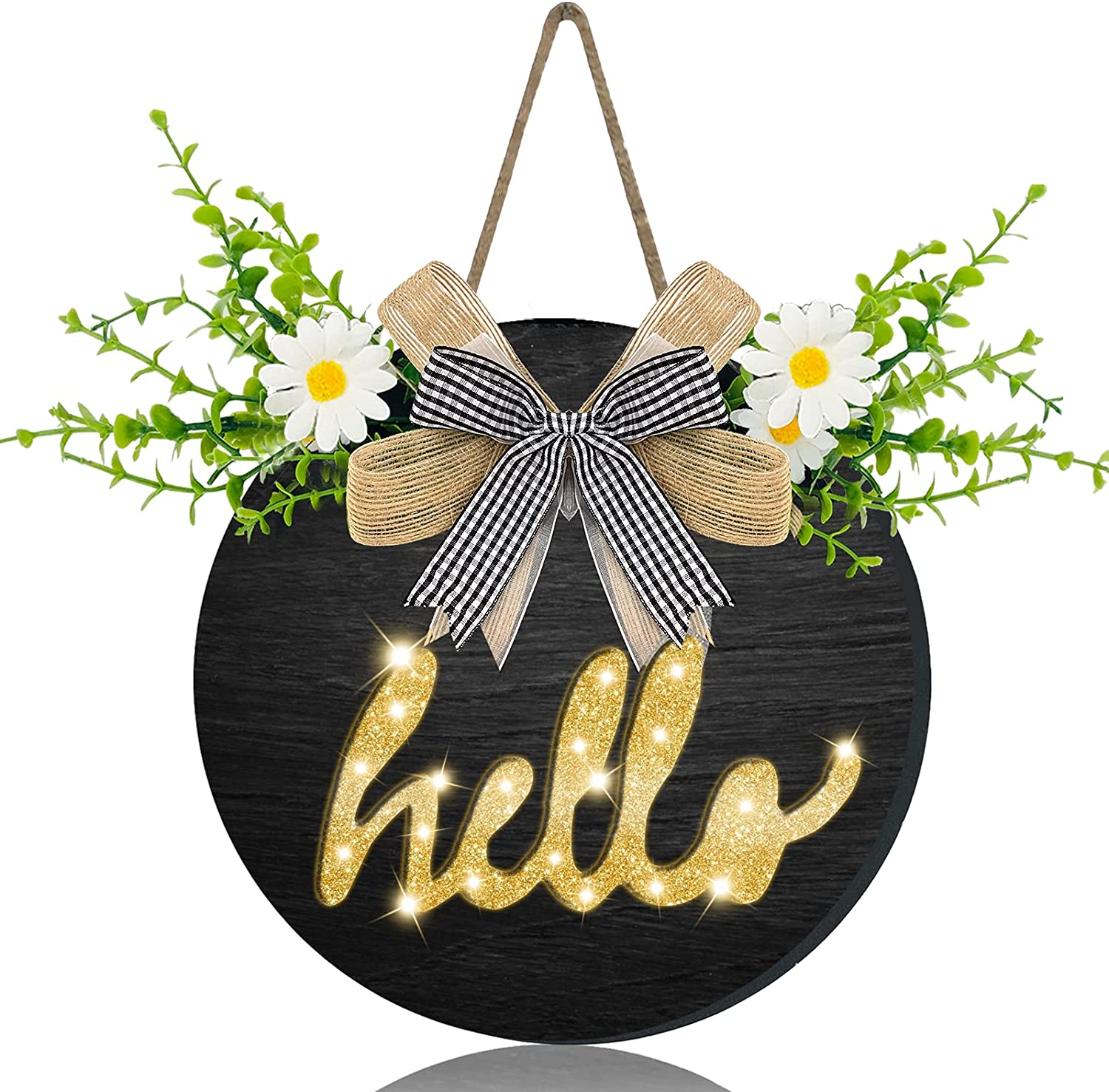 AMENON Welcome Hello Sign Porch for Front Door Decor, Pre-Lit Light Battery Operated with Timer Wooden Hello Wreath Farmhouse Sign Hanging Sign Spring Summer Home Wall Porch Decor(Black)