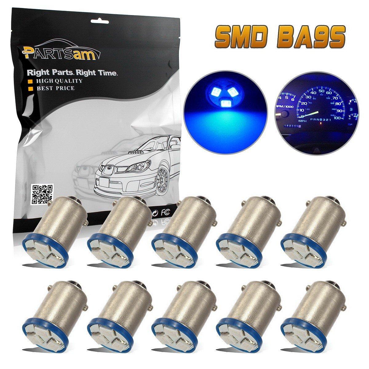 Partsam 10pcs BA9s LED Bulb Blue 3-SMD Car Light Kit for Instrument Panel Gauge Cluster 1815 1895 57 53 Lamps for 1973 Chevrolet