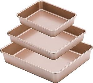 DOYOLLA Nonstick Deep Bread Baking Pans Set of 3, Cake Cookie Baking Sheet Pans,Pizza Pan Toaster Oven Pan Roasting Pan Set