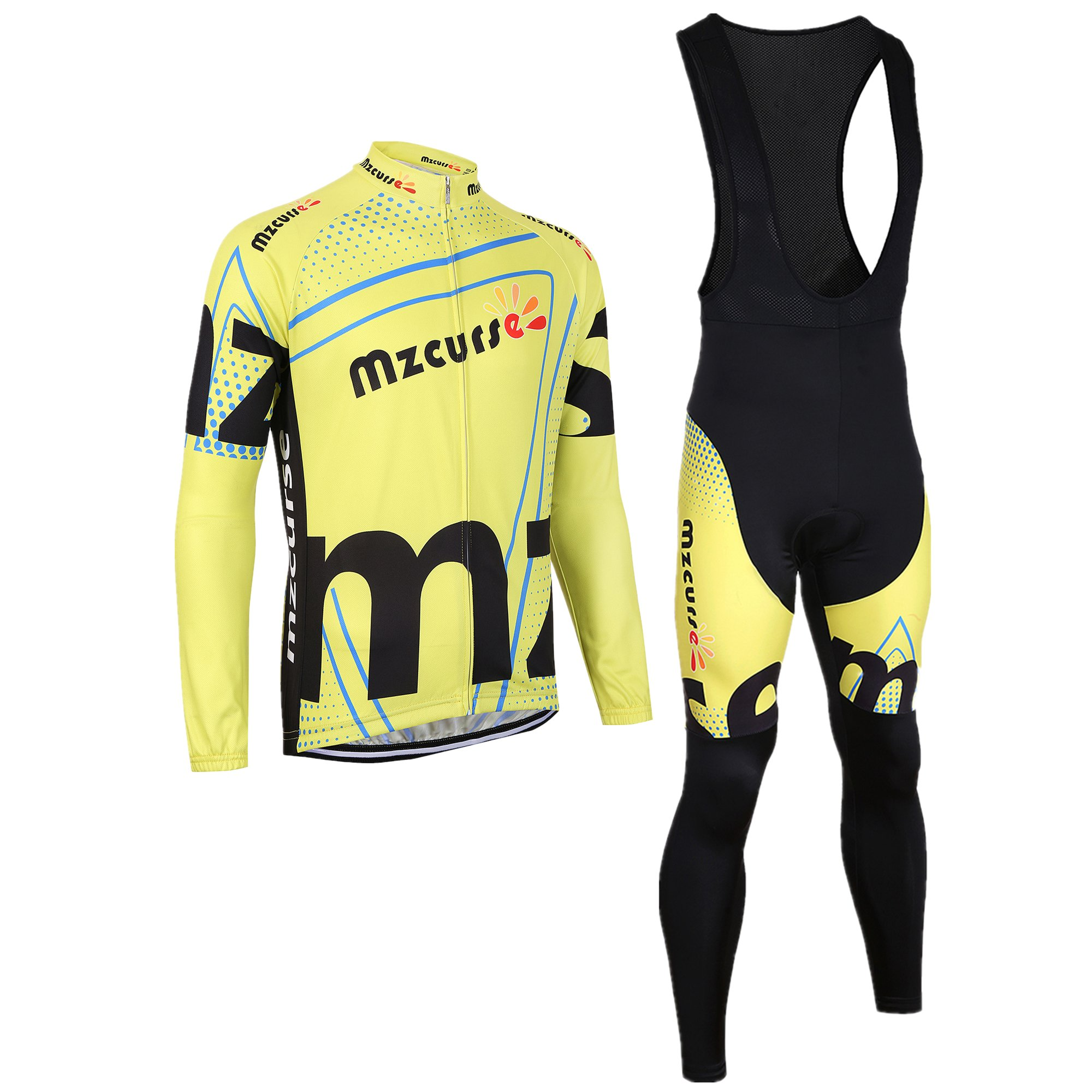 mzcurse Bicycle Bike Cycling Long Sleeve Jersey Jacket + Pants Shorts Set Skin Suits (Yellow Bib, Small,please check the size chart) by mzcurse