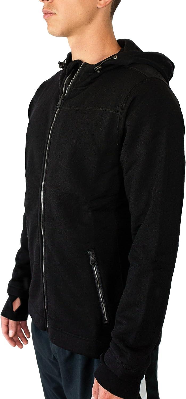 Hunzed Men【Sports Pocket Hooded Zip Sweater】 Mens Brushed Fleece Sweatshirt Long Sleeve Jacket