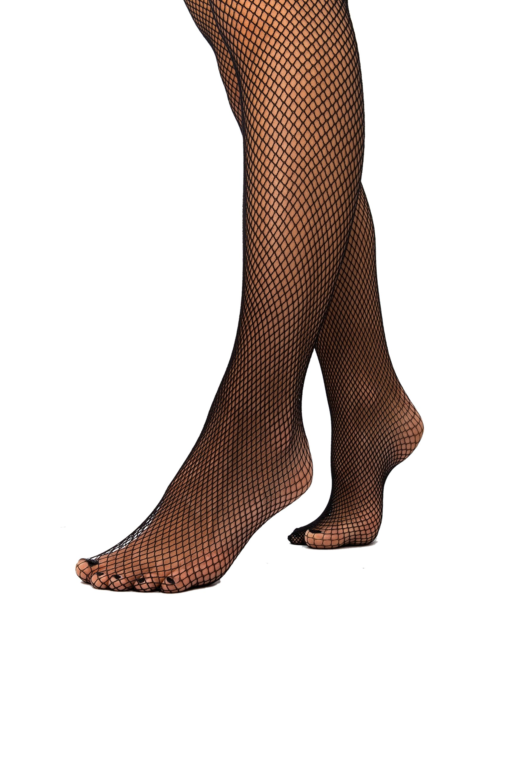sofsy Fishnet Thigh-High Stockings for Women Silicone Lace Top Nylon Net Lingerie Hosiery [Made In Italy] Black Medium/Large by sofsy (Image #6)