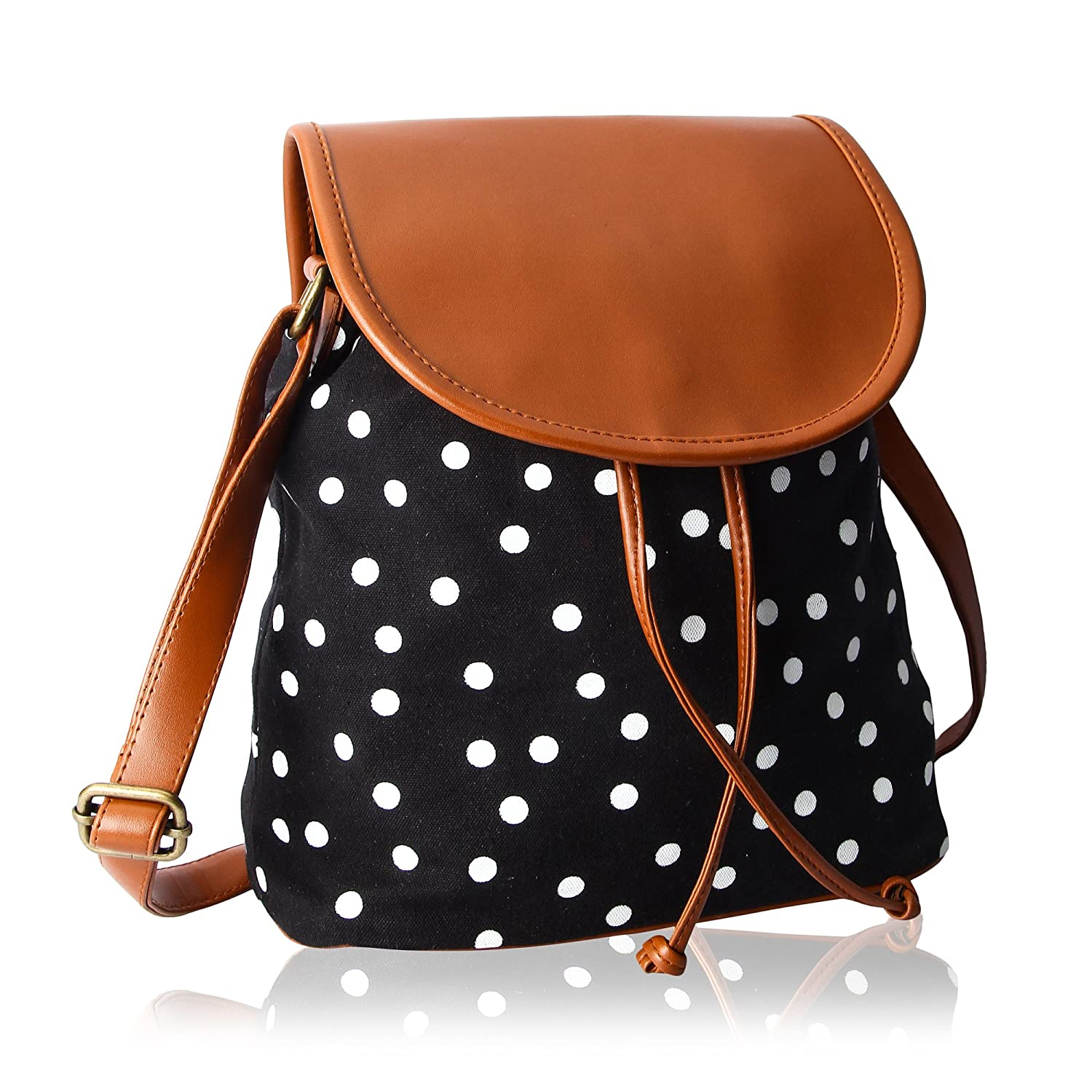 Kleio Polka Dots Canvas Slingbag For Girls / Women