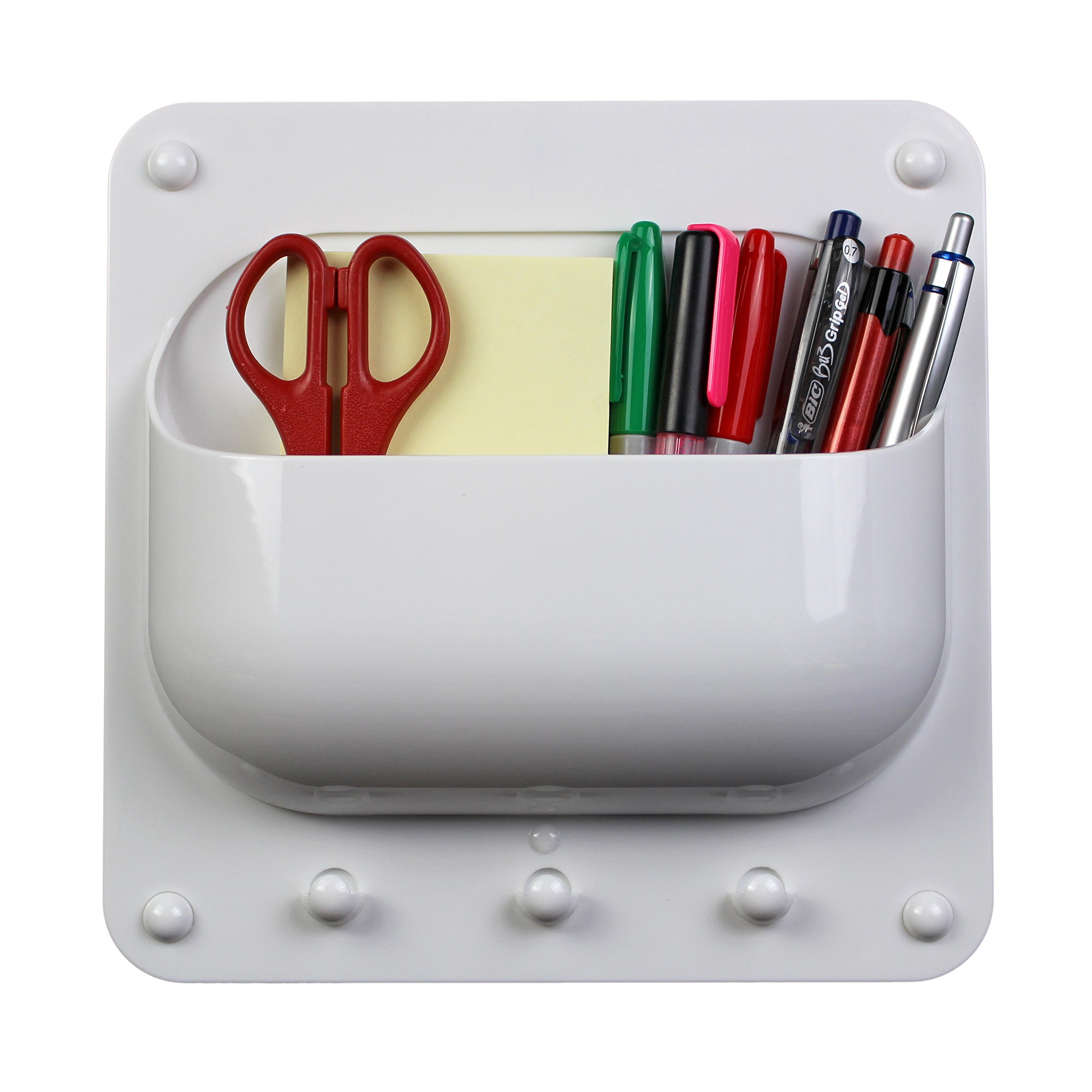 O-Life Caddy Organizer for Hanging Keys and Storing Pens, Notes, Charging Cables, Adapters and other Supplies for Offices, Classrooms and Homes - White