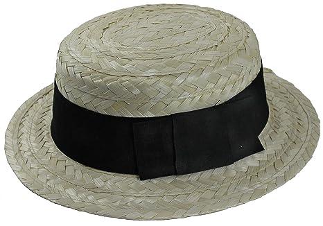 8d690d5b641aa Adultos canotier de paja sombrero con negro Band Ref  11348  Amazon ...