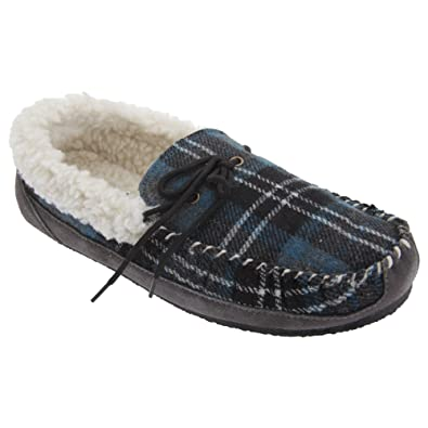 259a4f55098 Mokkers Mens Nicholas Moccasin Faux Fur Lined Check Slippers (6 UK) (Blue  Check