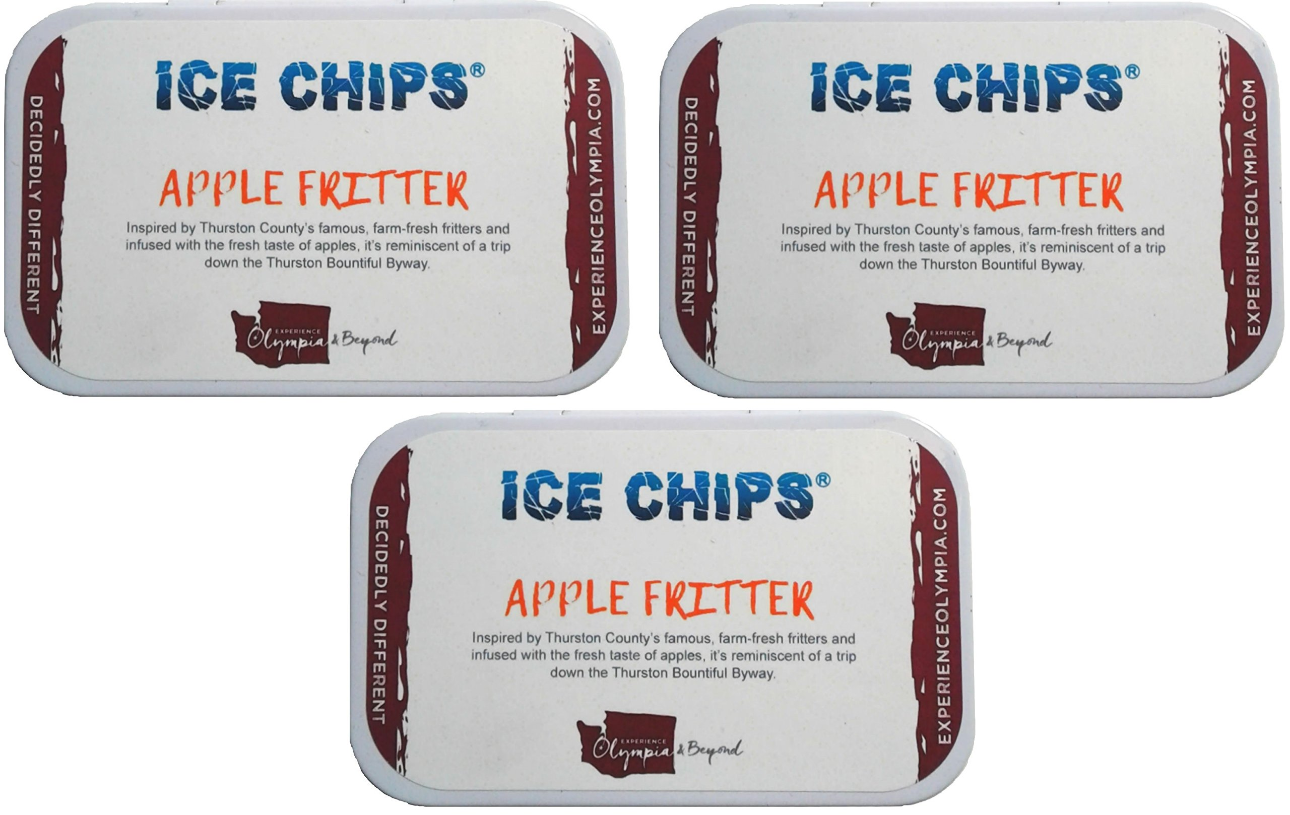 ICE CHIPS Xylitol Candy Tins (Apple Fritter, 3 Pack)