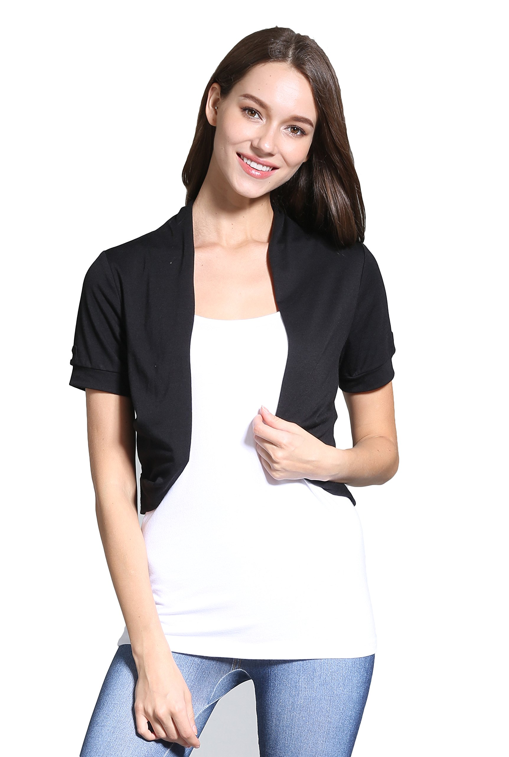 Sofishie Short Sleeve Bolero Shrug - Black - Medium