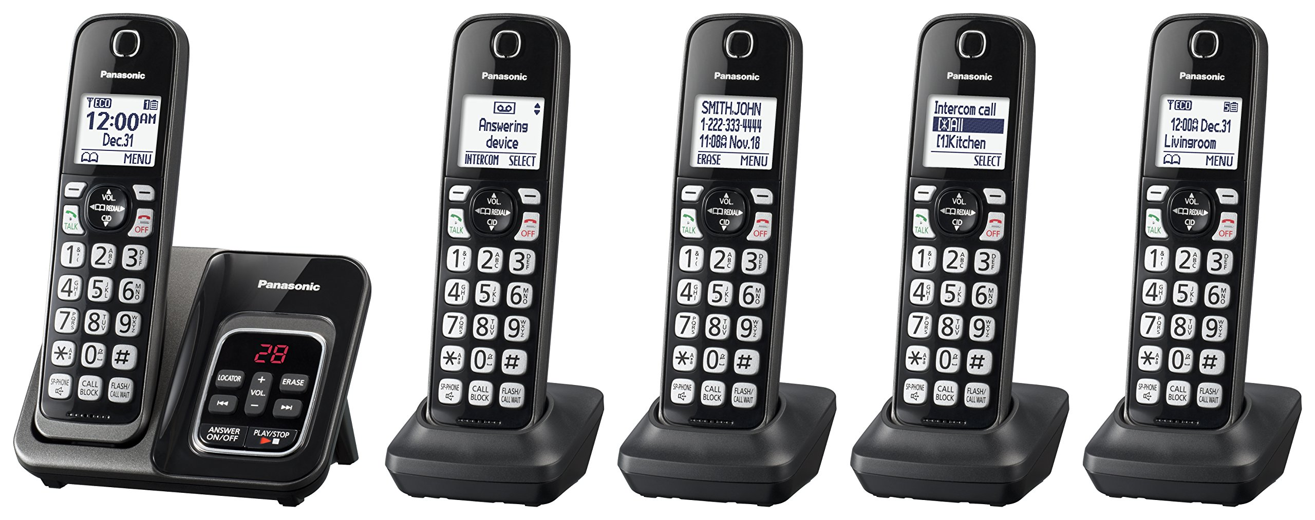 Panasonic KX-TGD535M Expandable Cordless Phone with Call Block and Answering Machine - 5 Handsets