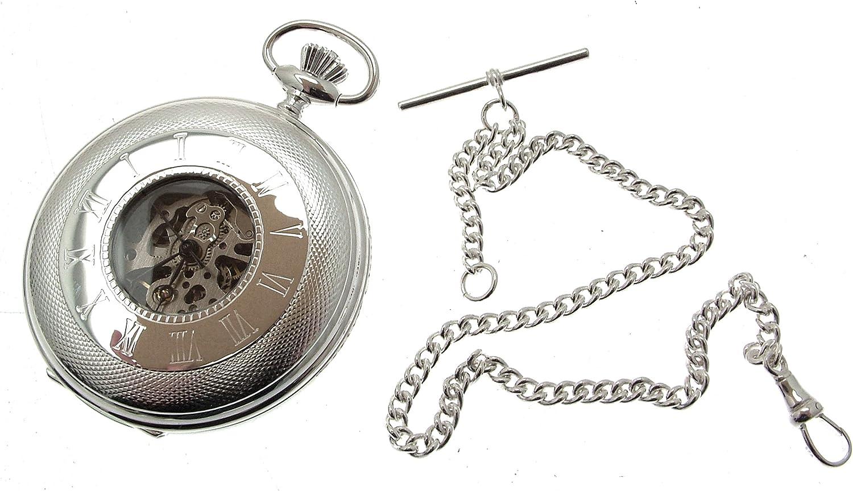 Reloj de bolsillo de plata maciza con media cazadora de plata